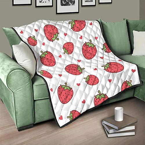 Flowerhome Colcha de fresa para cama o sofá, para adultos y niños, color blanco, 130 x 150 cm