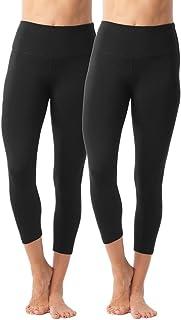 90 Degree By Reflex - High Waist Tummy Control Shapewear - Power Flex Capri - Black 2 Pack - Medium