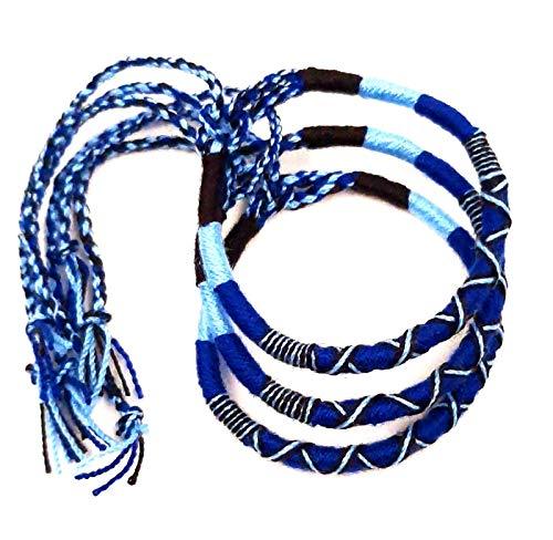 Lote de 3 pulseras brasileñas de la amistad de algodón trenzado, macramé, amuleto de la suerte para hombre, mujer, niña, niña, azul
