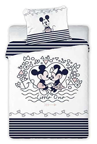Parure de lit bébé Mickey et Minnie Disney - Housse de Couette 100 x 140 cm Taie 40 x 60 cm