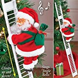 Vansonly Electric Climbing Ladder Santa Claus with Music, Christmas Super Climbing Santa Plush Doll Toy Hanging Ornament Tree Xmas Gifts for Kids Christmas Door Hanging Decorations (White)