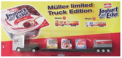 Müller Milch Nr. - Joghurt mit der Ecke - MB Actros - Tieflader - Sattelzug mit 3 Bechern