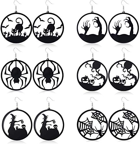 LOLIAS 6 Pairs Halloween Earrings Set for Women Black Spider Dangle Hoop Earrings Cat Witch Ghost Black Stud Earrings Lightweight Halloween Party Decoration Supplies Earrings Halloween Theme Jewelry