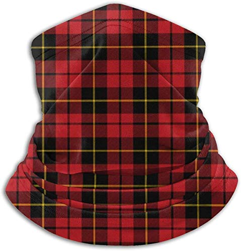 ShiHaiYunBai Halstuch/Kopftuch Microfiber Neck Warmer Small Plaid Wallac Red Tartan Neck Gaiter Tube Ear Warmer Headband Scarf Face Mask Balaclava