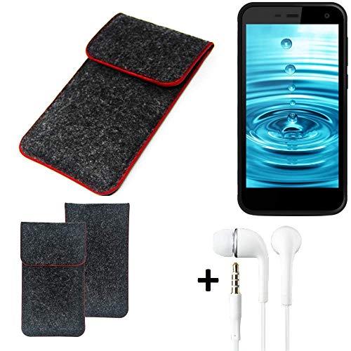 K-S-Trade® Handy Schutz Hülle Für Energizer H500S Schutzhülle Handyhülle Filztasche Pouch Tasche Case Sleeve Filzhülle Dunkelgrau Roter Rand + Kopfhörer