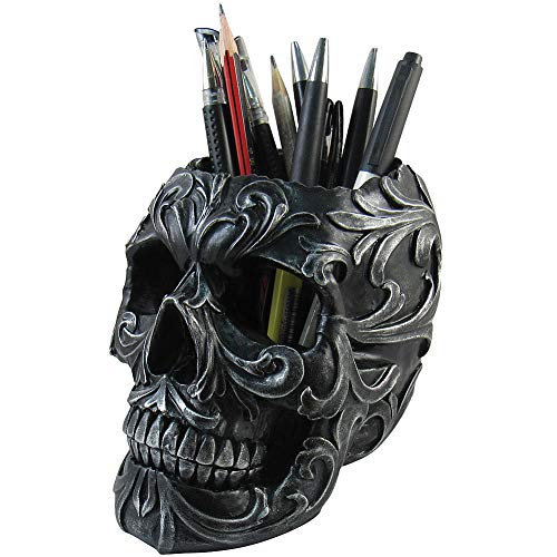 Skull Shaped Pen Pencil Holder Home Office Desk Supplies Organizer Accessory