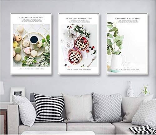 FYSKJDG Wandkunst Restaurant Gourmet Stillleben Modulare Druck Bild Wandkunst Leinwand Gemälde Dekoration Für Wohnzimmer (Kein Rahmen)