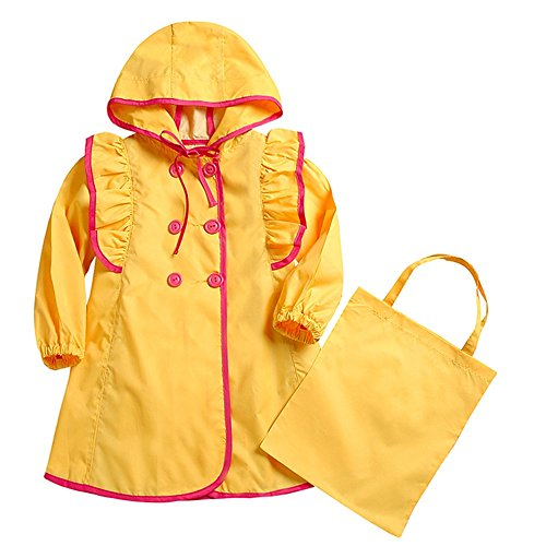 Dinglihuaqu Kinder-regenponcho baby in de open lucht poncho Bow Yellow Siamese poncho Raincoat windjack regenjas kind Medium
