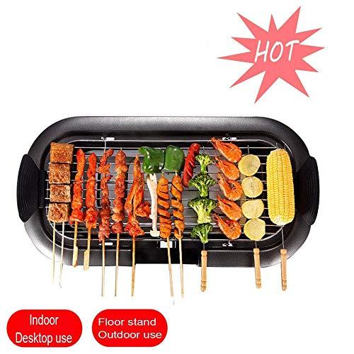 Elektrische Teppanyaki Tisch Elektrogrill Innen Nonstick Smokeless mit Fettauffangschale Einstellbare Temperatur und Cool-Touch-Handgriffe, mit Extra Large Oberfläche 32X62cm, Schwarz HAOSHUAI