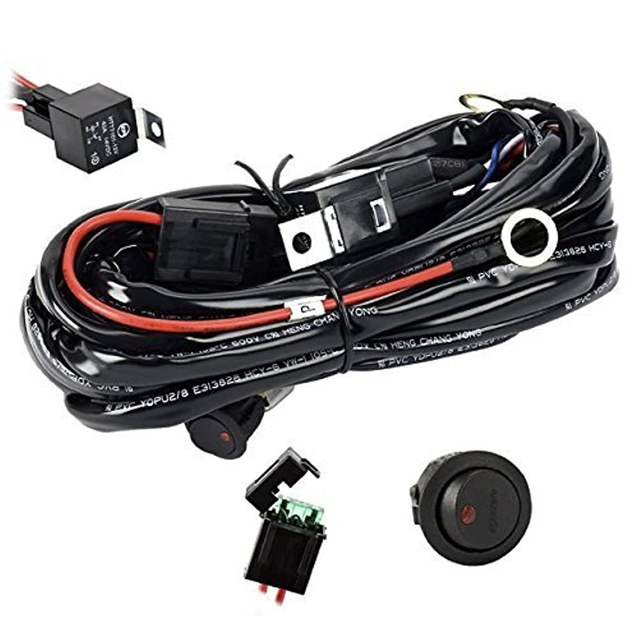 Eyourlife Wiring Harness, Heavy Duty Wiring Harness Kit for Led Light bar 300W 12V 40A Fuse Relay On/Off Switch Relay 14AWG 12FT Length Universal Fitment Light Bar Accessories