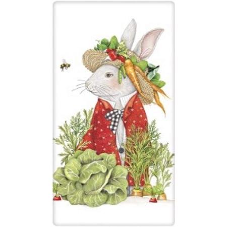 flour sack towel Scandinavian style bunnies and hearts