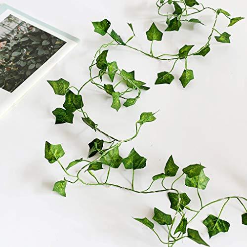 VVXXMO 2M 20 LED Artificial Plants String Light,Maple Leaf Green Vine,Home Wedding Decor Lamp
