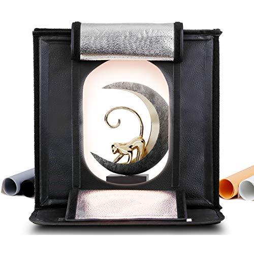 40cm Caja de Luz Fotografía, Color y Brillo Ajustable - amzdeal 126 LED Photo Studio Portátil, 95Ra, 12000LM, 2 Filtros-Amarillo 3200K, Blanco 5500K, 4 Fondos (Gris, Blanco, Negro, Naranja)