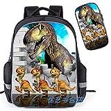 Backpack Mochila 3D Dinosaurio Jurásico Parque Infantil Lápiz Impreso Niños Mochilas Escolares Caso con El Bolso, Entregado Dentro De 15-21 Días E-L