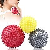 Ealicere Bolas de Masaje Set de 3 Bola masajeadora con Pinchos Estrés para Aliviar Dolor de Fascitis Plantar Mmúsculo Cervical