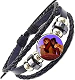 Premium Cartoon Lion King Simba's Family Themed Leather Braided Bracelet for Men and Women