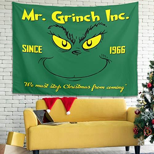 OwlOwlfan Grinch Inc 1966 Tapiz de pared ligero personalizado para colgar en la pared, mantel de tela para dormitorio, sala de estar, dormitorio blanco, 101,6 x 149,9 cm