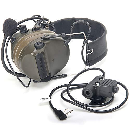ZTAC Official Store】 Z-Tactical Headset Kopfhörer mit U94 PTT Kenwood 2-Wege-Pin Comtac III Rauschunterdrückung Headset Walkie Talkie Dual PTT Olive Drab für Militär-Radio OD