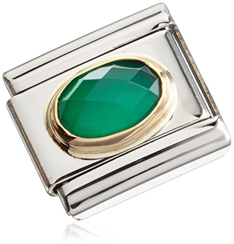 Nomination Damen edelsteine COMPOSABLE CLASSIC (ACHAT GRUN) Edelstahl teilvergoldet Achat grün- 03050227