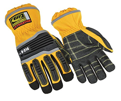 Ringers R-314 Extrication Gloves, Cut Resistant Work Gloves, Yellow, Medium