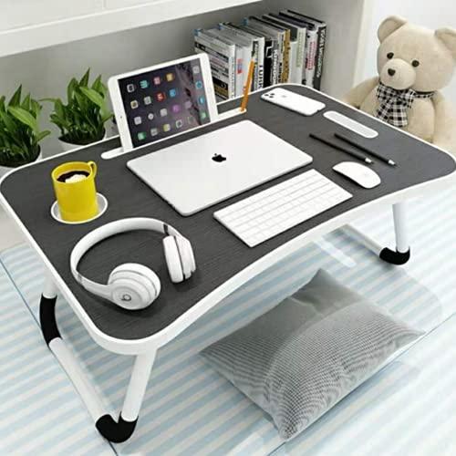 Mesa plegable para ordenador portátil, mesa de desayuno con patas plegables con soporte para vasos para cama/sofá/suelo (negro)