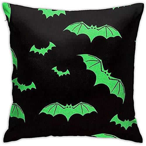 Funda de cojín de Halloween Green Bats Throw Pillow Case Square Diseño Decorativo de Doble Cara 45x45cm Family Interior Sofa Car