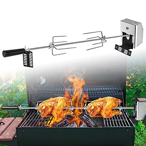 HENGMEI Edelstahl Grillspieß Set 107cm BBQ Fleischklammer mit Motor inkl. Fleischnadeln, 220V - 240V, Elektrischer Drehspieß, Rotisserie, Drehspiess