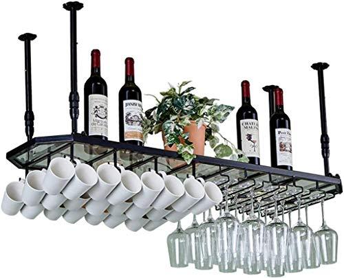 NYSCJJJ Cristal Stemware Bastidores, Montado Techo Colgante De Botellas De Vino, Copa, Taza De La Unidad De Almacenaje Del Organizador Los Estantes Flotantes Bares Decoración De La Cocina - Altura Aju