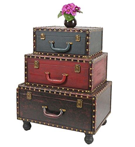 ts-ideen Koffer Kommode mit Kunstleder als Schrank Regal im Vintage Antik Used Look
