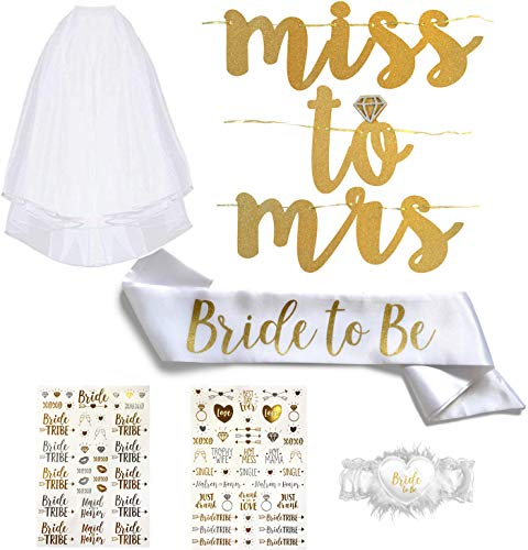 Bachelorette Party Essentials Kit - Bride to Be Satin Sash, Garter, Veil, Flash Tattoos, and Sparkly Miss to Mrs Banner. Perfect for Bridal Shower or Wedding Party Too! (6pc Kit, White & Gold)