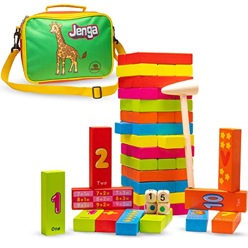 Txkkids Juego de Mesa Familiar Jenga, Torre Bloques de Madera Infantil Educativo 54 Piezas de Colores, Números en Inglés, Incluye Bandolera
