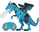 Kiddie Play TM Remote Control Dinosaur Toys LED Light Up Walking Dragon Roaring and Spraying Smoke Realistic t rex Dinosaur Toys for Boys and Girls 3-12 Years