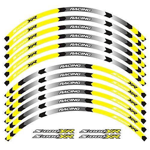 Calcomanías de la Rueda de la Motocicleta Pegatinas Reflectantes Ramillas de llanta para BMW S1000XR S1000 XR Motorbike S1000XR 7 Color Pegatinas para Moto (Color : D Yellow)