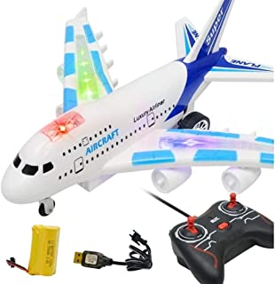 Mopoq Kids RC Airplane Toys Airbus Toys with Music and Lights Large Electric Remote Control Airplane Toy for Flight Toys,A...