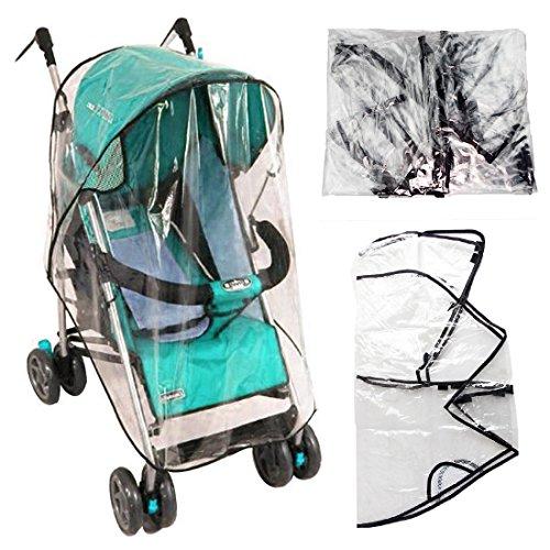 JJ PRIME - Universal Clear Buggy Pram Pushchair Stroller Transparent Rain Wind Cover Baby Toddler Travel Shopping Park (77 x 47 x 57cm)