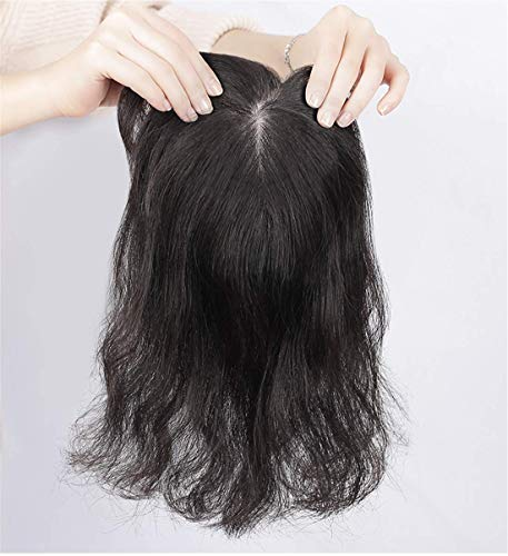 DGHJK Brunette Wig Wavy Natural Top with Pony for Women Silk Headband for Thinning Hair 29cm Real Hair Wigs for Women