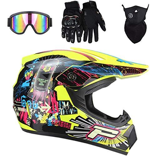 Casco de motocicleta/Motocross con gafas, guantes, máscara, casco de moto todoterreno de cara completa para bicicleta de tierra para niños y adultos