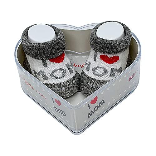 Neonato Bambino Socks 0-4 Mesi   Spesse Impugnature In Cotone E Antiscivolo   Set Regalo Per Neonato Nuovo Perfetto Per Baby Showers   (Grigio - I love you Mom & Mom)