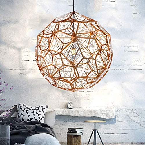 Hanging Light E27 Pendant Light Modern Lighter Luxury Pendant Lamp Retro Hollow Out Lampshade Height Adjustable Chandelier Dining Room Loft Bar Coffee Shop Restaurant Ceiling Lights (Rosegold,50CM)