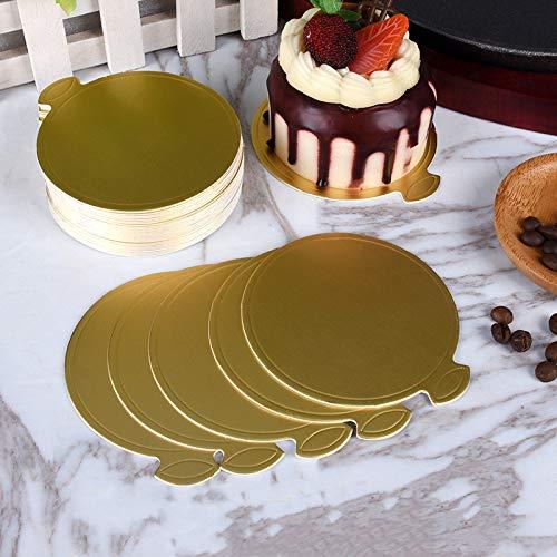 Queta 100 Pcs Support à Gâteau avec Languette en Carton Couleur Cake Board Planche à Gâteau Disque en Carton Rondes Dorées pour Petits Gâteaux Pâtisserie 90MM