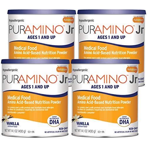 Puramino Junior Vanilla Hypoallergenic Formula with DHA - Amino Acid based for Severe Food Allergies - Powder Can, 14.1 oz (4 Pack)