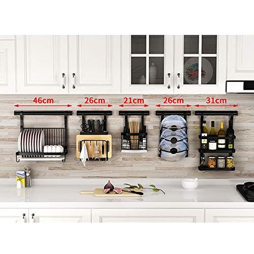 HUO Punch-Free Kitchen Racks Wall-Mounted Folding Dish Rack Knife Holder Seasoning Storage Rack Combination Multifunction (Color : E)
