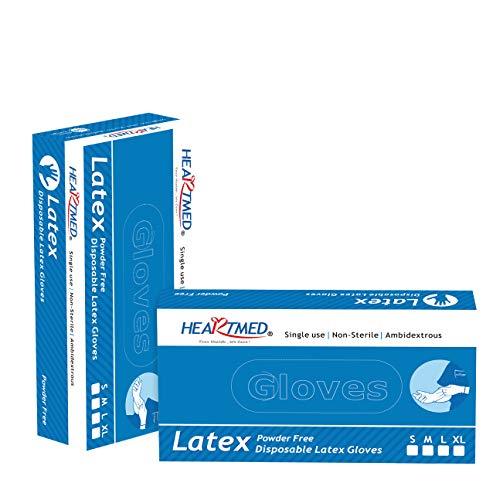 Guantes de Latex SANITESA (Talla M). Para examen, desechables y sin polvo. Caja/100 unidades.