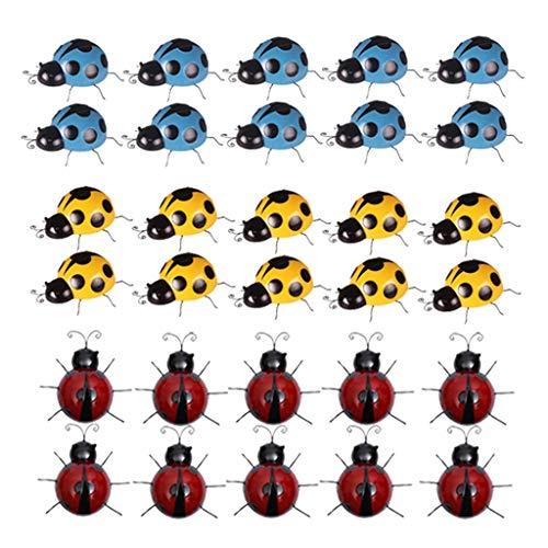 prasku 3 Colors Set Iron Metal Ladybird Ladybug Ornaments Outdoor Garden Decor