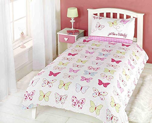Juego de Ropa de Cama para niños, diseño de Mariposas, Color Rosa, Azul, Amarillo y Blanco