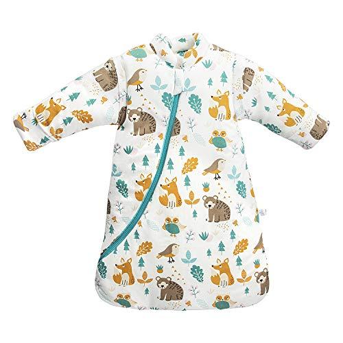 Baby Winter schlafsack Kinder schlafsack 3.5 Tog Schlafsaecke aus Bio Baumwolle Verschiedene Groessen von Geburt bis 4 Jahre alt (M:Höhe 75cm-90cm/6-18 Monate, Tierwelt)