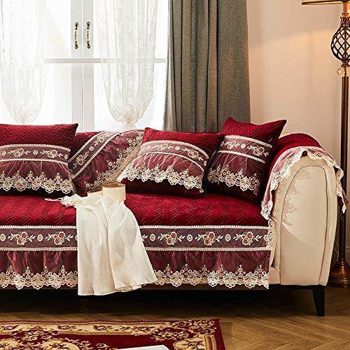 eaodz Plush Protective Cover Sofa Stretch Sofa Throw Sofa Cover Soft Thick Sofa Cover for Cotton 65+Lace 16 * 70