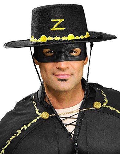 Rubie's Men's Zorro Hat and Eye Mask Set, Black, One Size