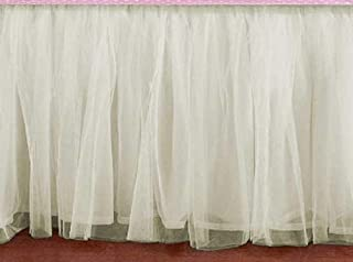 Cream Double Layer Ivory Tulle bedskirt Queen size 16 Inch Drop 3 sided