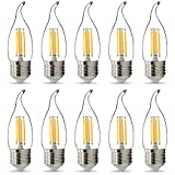 Paquete de 10 bombillas LED TIANFAN C35/G45 de filamento LED para vela, 220 V, 240 V, 4 W, casquillo Edison (C35 Tail E27)